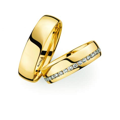 18ct yellow gold wedding ring pair christian bauer
