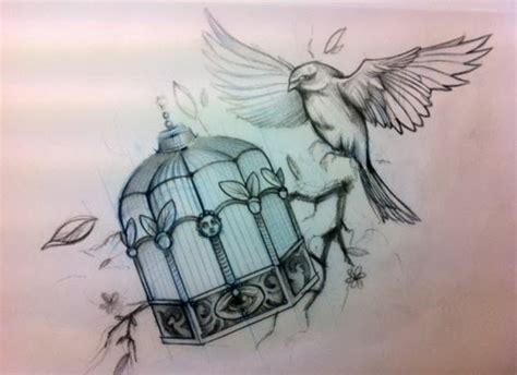freedom bird tattoo bird getting free from his cage of