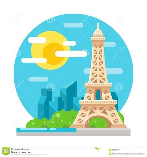 design art eiffel tower 7th flat eiffel tower flat design landmark stock vector image