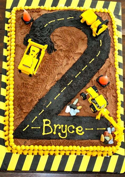 construction 2nd birthday cake homemade construction cake with chocolate buttercream and
