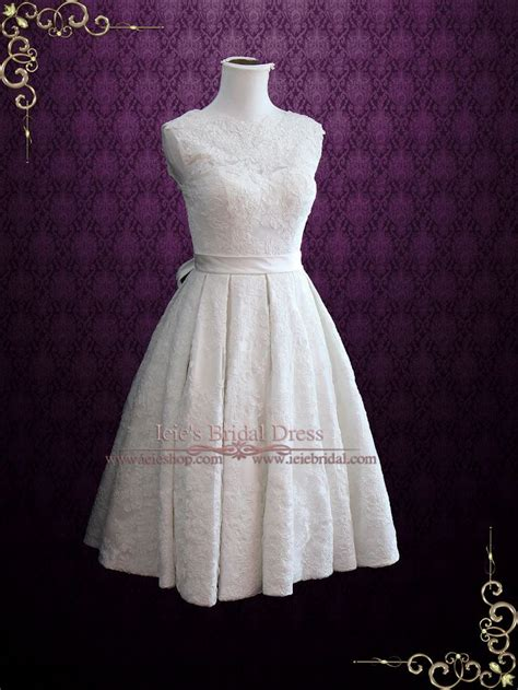 vintage style lace tea length wedding dress with pleated