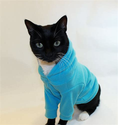 Cat Hoodie cat hoodie cat clothes microfleece cat by rockindogscoolcats