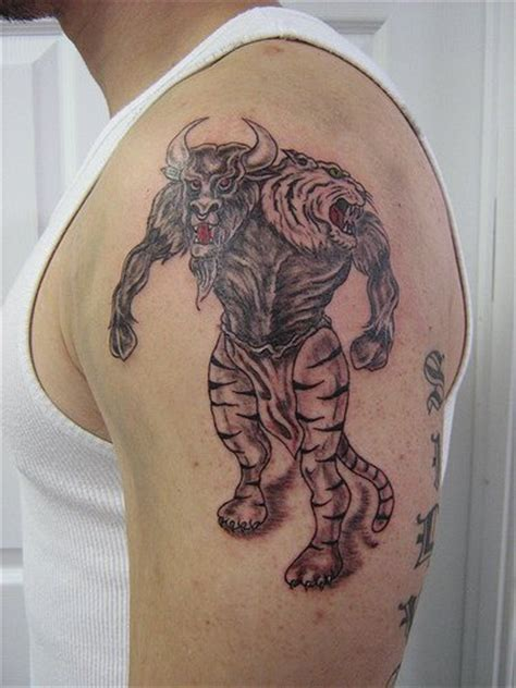 minotaur tattoo angry minotaur on shoulder tattooimages biz