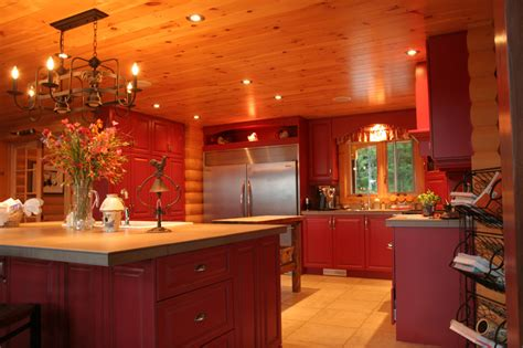 future house kitchen love the red on walls and ceiling the modernized log home is this the future timber block