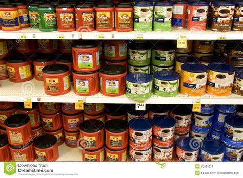 espresso coffee brands instant coffee in supermarket editorial photo image
