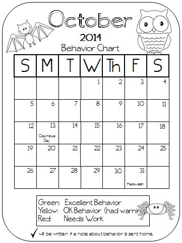 monthly behavior calendar template colors and kindergarten behavior calendars 2014 2015