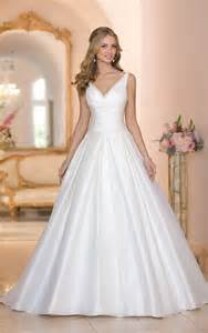 simple ball gown v neck low back ruched taffeta wedding