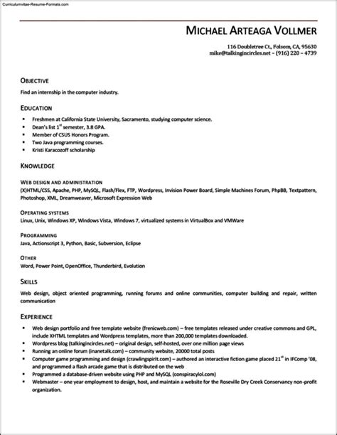simple resume template open office free sles