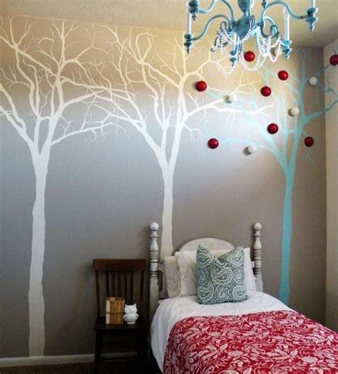 wandmalerei schlafzimmer ideen kreative idee f 252 r wandgestaltung mit muster auf b 228 ume