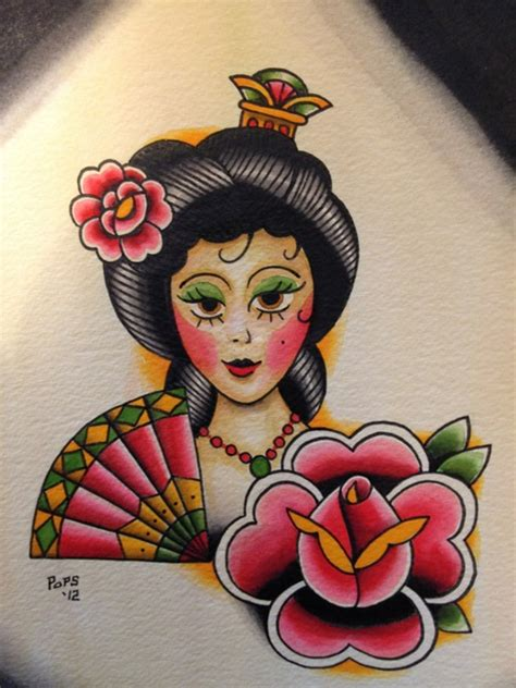 traditional geisha tattoo flash traditional geisha flash tattoos pinterest
