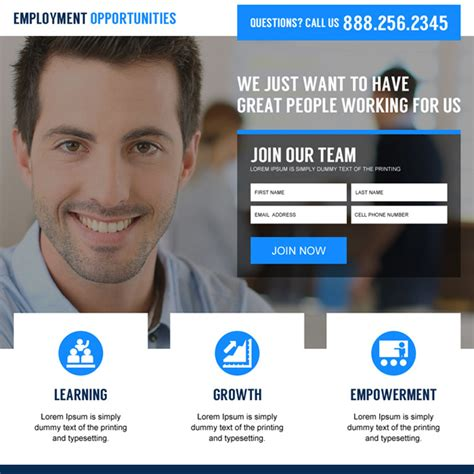 employment opportunity landing page design templates to