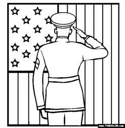 coloring page veterans day soldier saluting the flag coloring page
