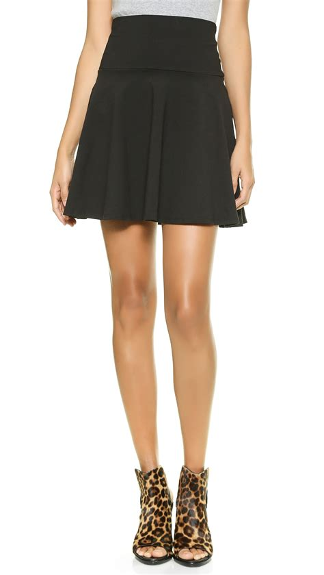 susana monaco high waisted flare skirt in black lyst
