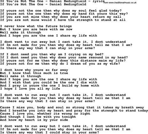 i you lyrics song lyrics for if you re not the one daniel