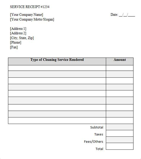 receipt for services template 9 service receipt templates free sles exles