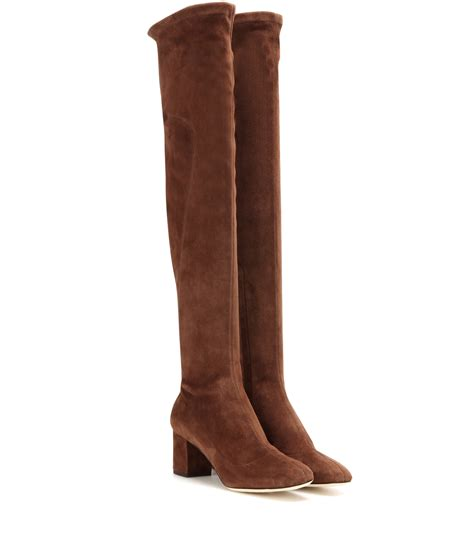 brown suede the knee boots dolce gabbana suede the knee boots in brown lyst