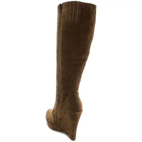 buy liana wedge heel platform knee high boots brown