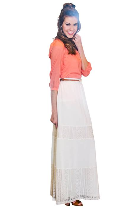 modest maxi skirt in w lace panels