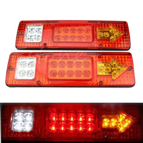 commercial truck tail light assembly 2pcs 19 led car truck trailer rear tail stop turn light