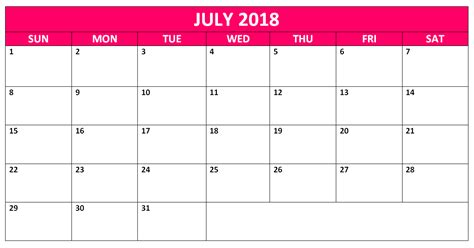 Editable July 2018 Word Calendars Templates Calendarbuzz Editable Calendar Template
