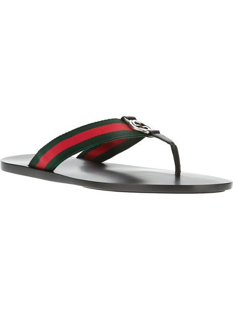 Sandal 2stripe Colors gucci stripe flip flop in green for lyst