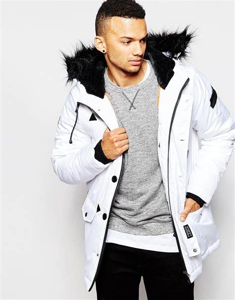 D struct Coulton Faux Fur Trimmed Parka Jacket in White