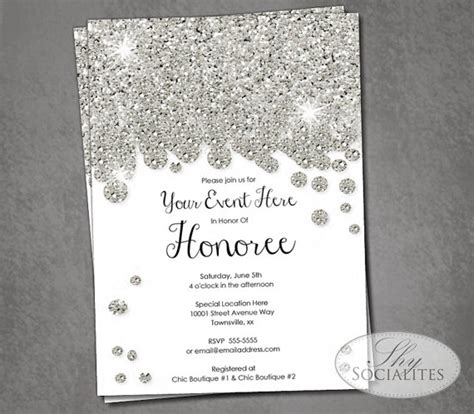 silver glitter bridal shower invitations silver wedding silver glitter diamonds invitation 2232173 weddbook