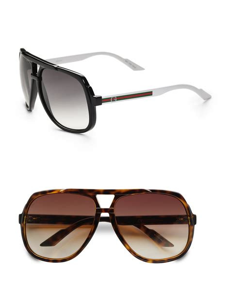 gucci shades for lyst gucci plastic aviator sunglasses in brown for