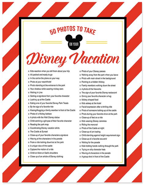 when to put your checklist 50 photos to take on your disney vacation free photo checklist