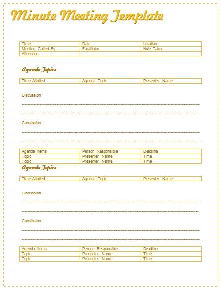 formal meeting minutes template document hub