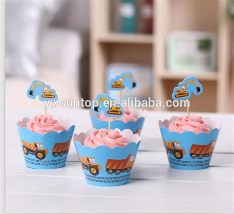 wholesale baby shower favors wholesale paper blue truck cupcake wrappers toppers