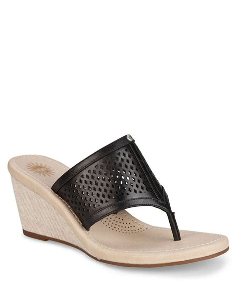 ugg wedge sandals ugg solena leather wedge sandals in black lyst