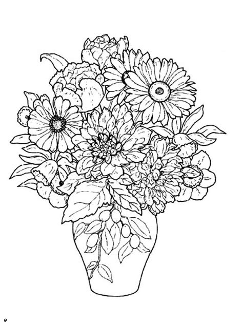 Flower Vase Coloring Page free coloring pages of flower vase