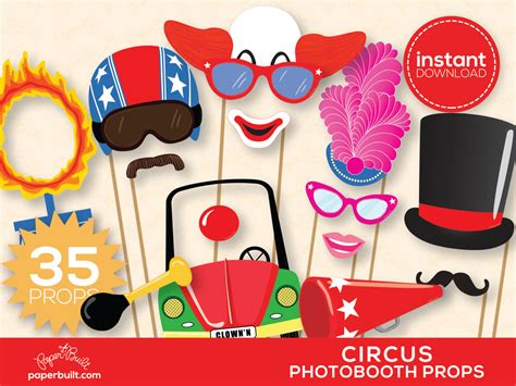 free printable photo booth props carnival circus photo booth props photobooth props by paperbuiltshop