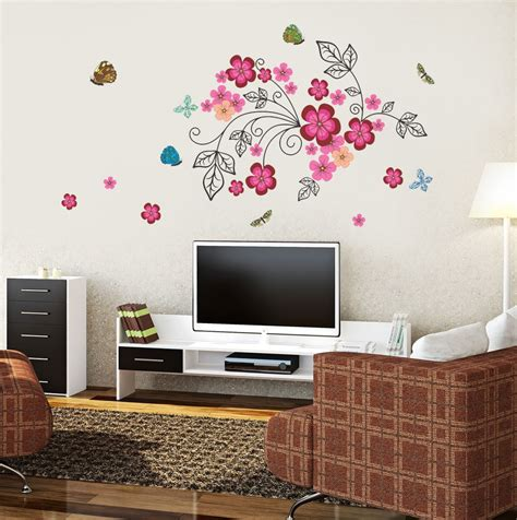 home decor flipkart new way decals wall sticker floral botanical wallpaper