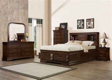 bedroomag set queen storage bed brown cherry direct furniture  mattress surrey