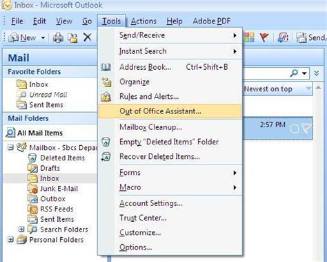 vacation or out of office auto responder for outlook on a