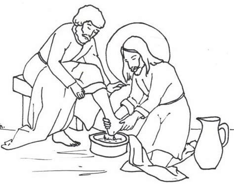 jesus washing disciples feet coloring page free coloring