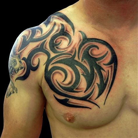 tribal tattoo add on designs tribal on chest chest shoulder tribal tattoos cool