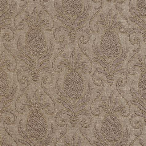 pineapple upholstery fabric sand beige and brown pineapple beach brocade swirl