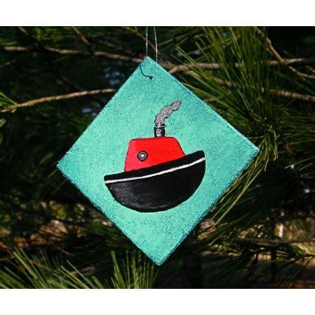 tugboat ornament christmas ornament primitive folk art tugboat nautical