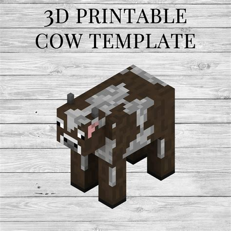 cow printable minecraft cow papercraft template