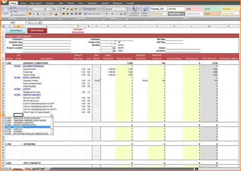 Building Construction Estimate Spreadsheet Excel by 9 Building Construction Estimate Spreadsheet Excel