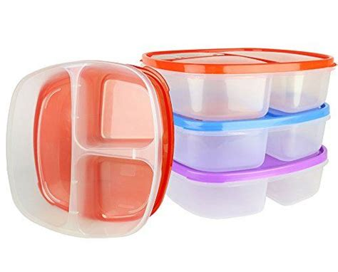 sectional lunch containers 3 pack large 3 compartment microwavable food container