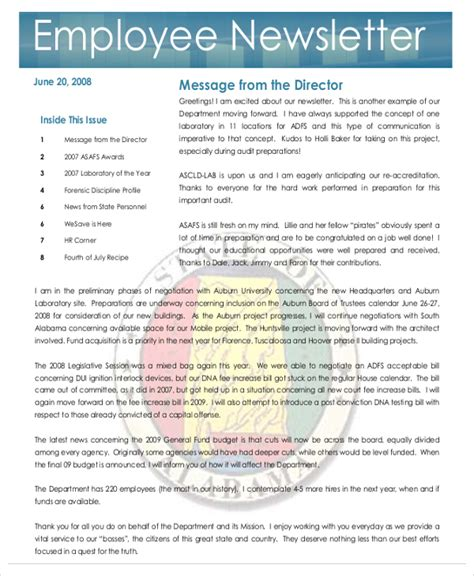 Employment Newsletter Newsletter Template 17 Free Word Pdf Documents