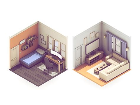 isometric view of bedroom broadcasting rooms desks living rooms and tvs