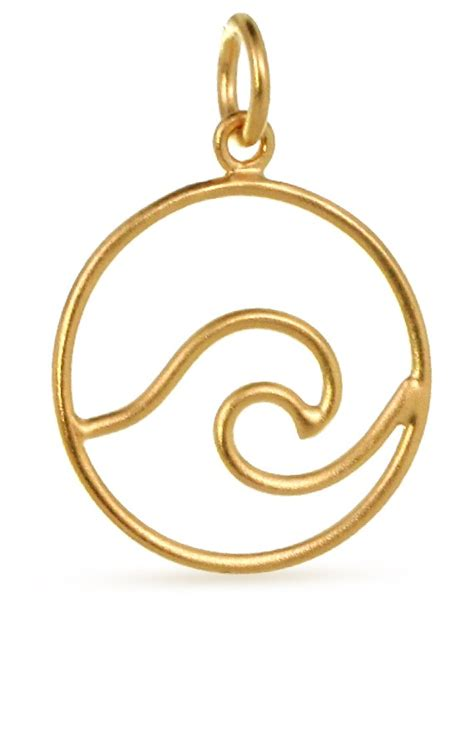 24Kt Gold Plated Sterling Silver Openwork Wave Pendant 21.6x15mm