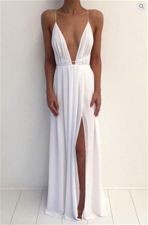 30708 White Informal V Neck Dress Dress Casual Mini Putih dress white dress white dress plunge v neck slit