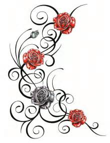 roses with tribal tattoo design by jsharts on deviantart