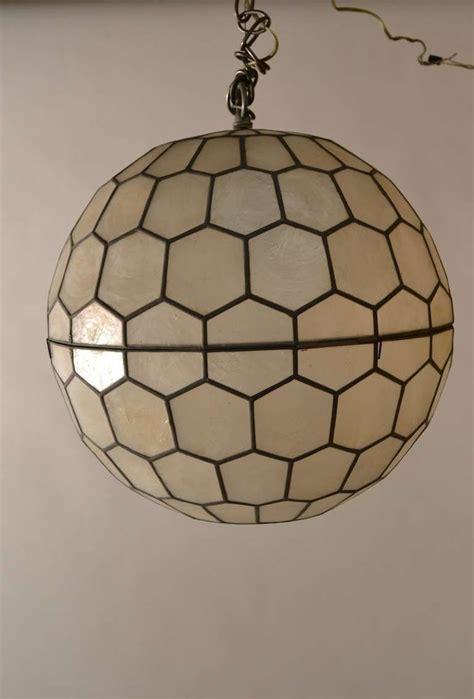 Shell Pendant Lights Sphere Capiz Shell Chandelier By Feldman Lighting At 1stdibs